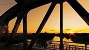 The bridge of Remetea at sunset, Timiş